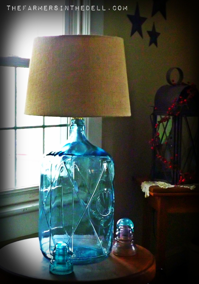 glass water jug lamp - TheFarmersInTheDell.com