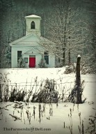 white church in winter - TheFarmersInTheDell.com