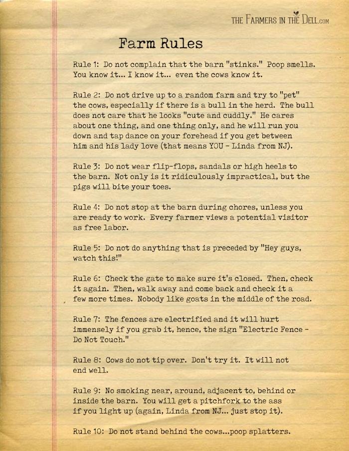 farm rules - TheFarmersInTheDell.com